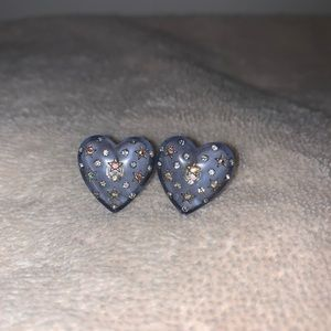 Betsey Johnson blue heart earrings